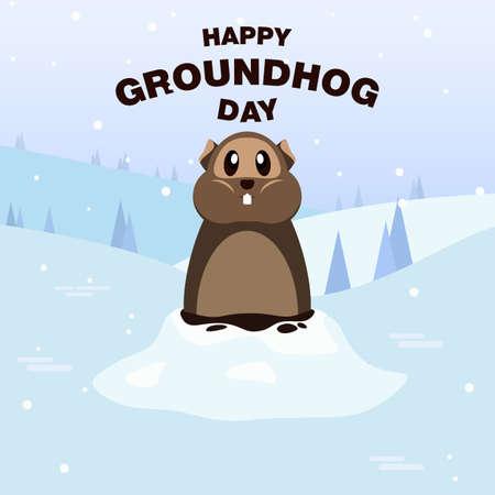 Happy Groundhog Day snow card. vector modern design illustration Ilustração