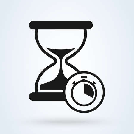hourglass and stopwatch, vector modern icon design illustration