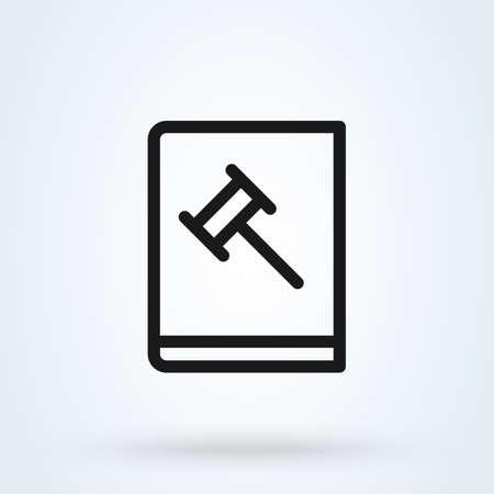 judge gavel book line. Simple vector modern icon design illustration Ilustração