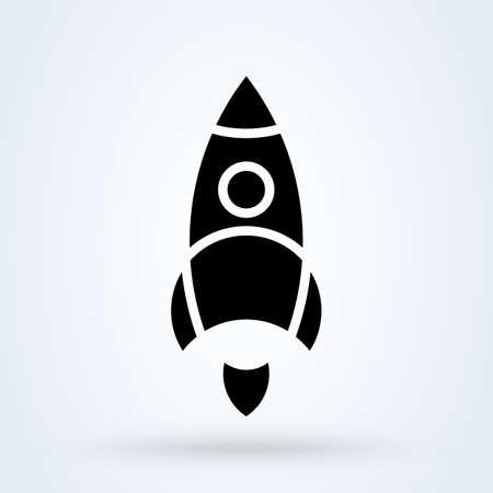 Rocket and Spaceship. vector modern icon design illustration