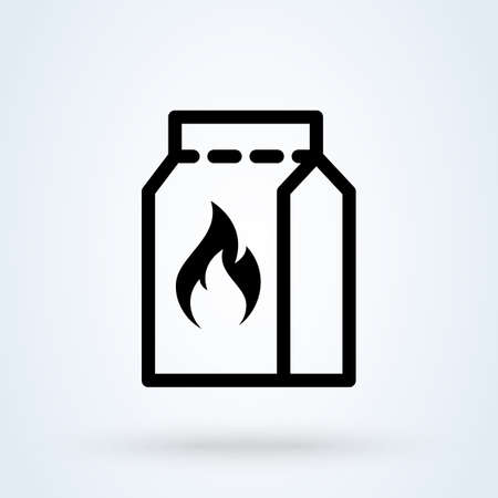 Grill charcoal package. outline Simple vector modern icon design illustration.
