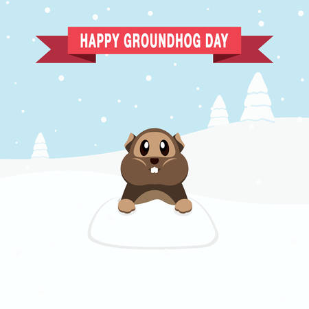 Happy Groundhog Day design with cute groundhog and cold snow