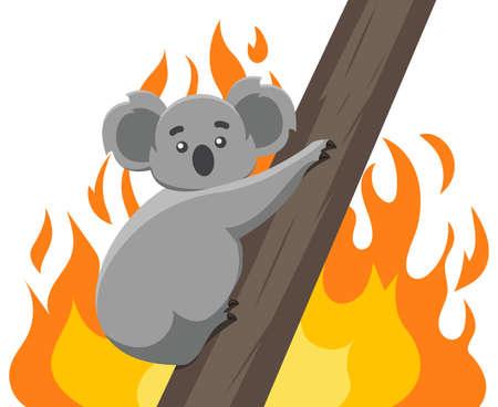 Fires in the habitats of koalas. Ecological disaster in Australia. vector modern design illustration.