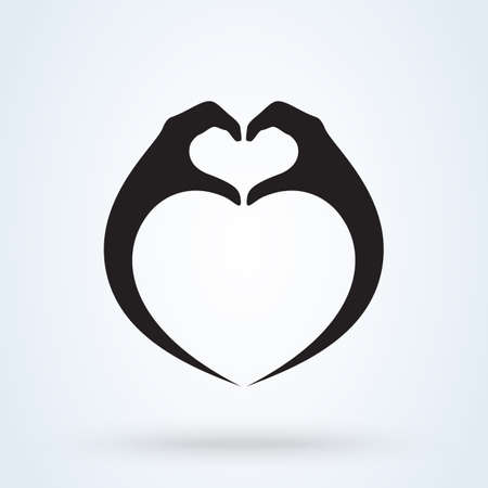 Hands making a heart symbol. Simple vector modern icon design illustration. Imagens - 138357138