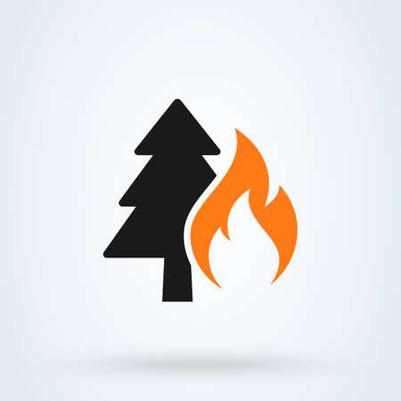 Forest Fire Simple vector modern icon design illustration. Ilustração