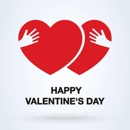Embrace Heart Shape and happy valentine day. vector illustration 스톡 콘텐츠 - 138357144