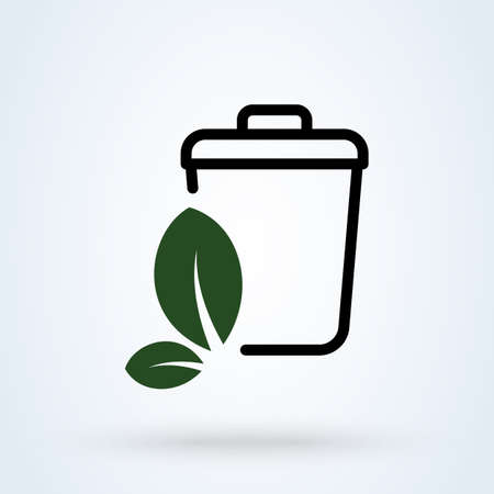 Waste Sorting and recycling, leaf logo. Simple vector modern icon design illustration. Imagens - 138357145