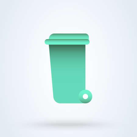 Wheelie bin cute flat. vector modern design illustration.