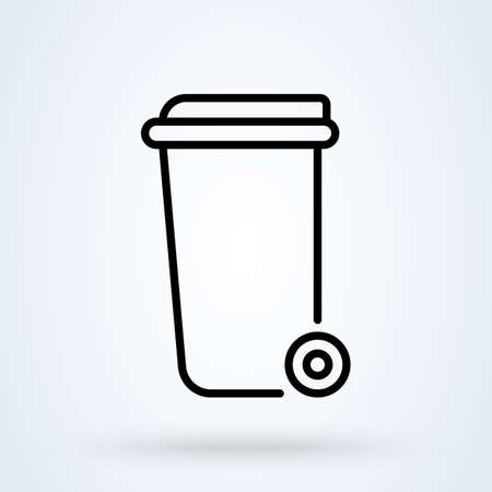 Wheelie bin line Simple vector modern icon design illustration. 스톡 콘텐츠 - 138357147