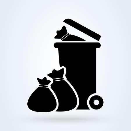 Wheelie bin Tied pouch. Simple vector modern icon design illustration.