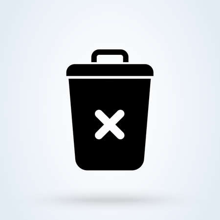 Trash Can, Rubbish Bin. Simple vector modern icon design illustration. Imagens - 138357148