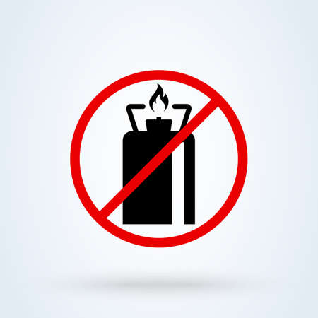 gas camping forbidden, Simple vector modern icon design illustration.