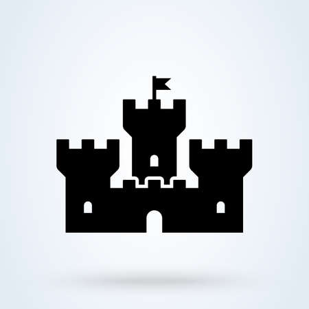 Castle Tower Simple vector modern icon design illustration. Imagens - 138357151