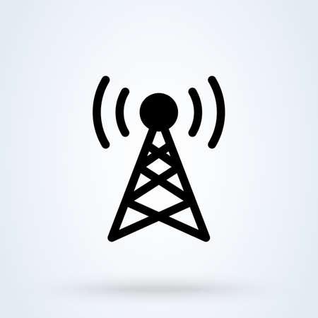 Communication tower signal, Simple vector modern icon design illustration.
