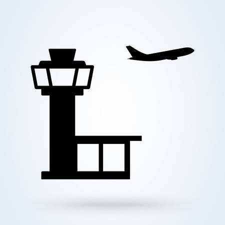 Control tower and terminal building airport, Simple vector modern icon design illustration.