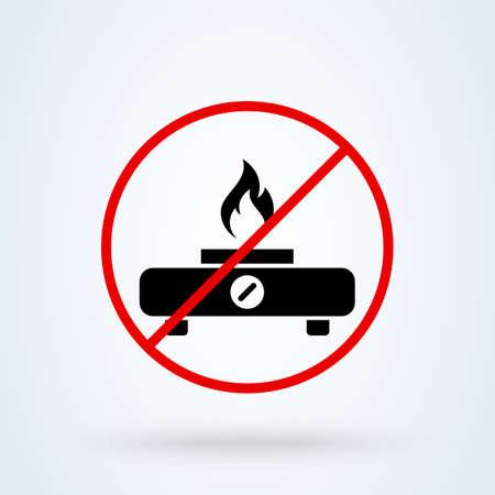 gas stove forbidden. Simple vector modern icon design illustration.