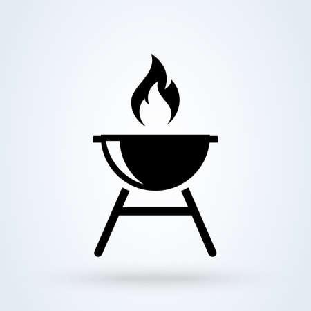 Roaster bbq Simple vector modern icon design illustration.
