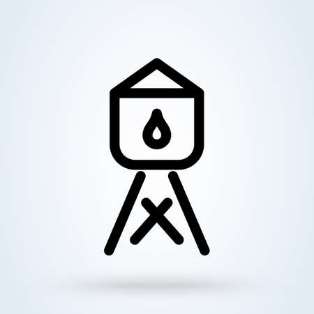 Water Tower line. Simple vector modern icon design illustration.