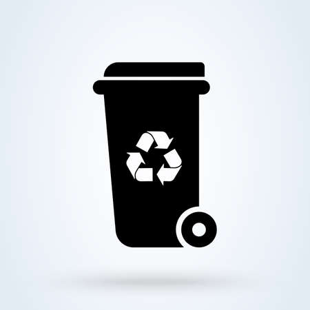 Wheelie bin recycle Simple vector modern icon design illustration. Imagens - 137673423