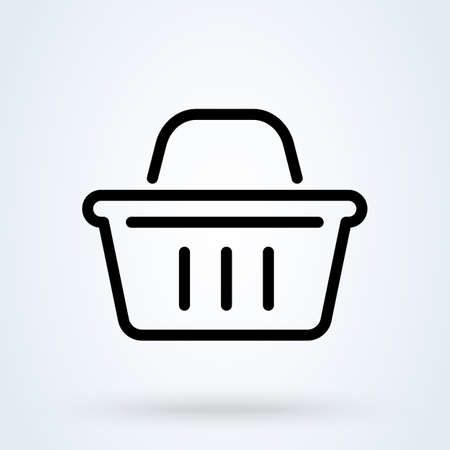 Shopping basket icon thin line. Simple vector modern icon design illustration. Imagens - 137732249