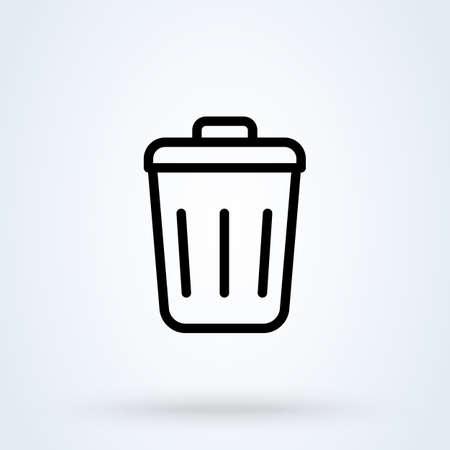 trash can outline, Simple vector modern icon design illustration.