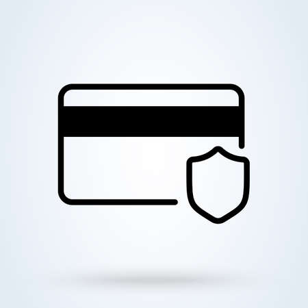 safety protection and card money. Simple vector modern icon design illustration. 스톡 콘텐츠 - 138357190