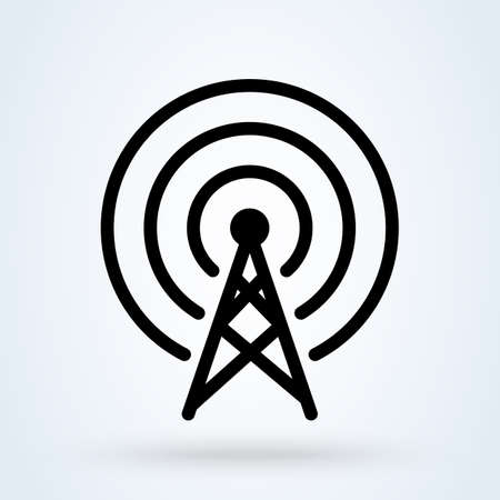 Communication tower signal, Simple vector modern icon design illustration. 스톡 콘텐츠 - 138357194