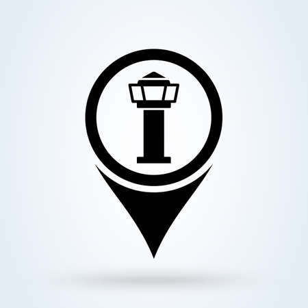 control tower map pin. Simple vector modern icon design illustration.