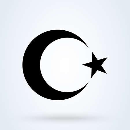 luna y estrella creciente islámica. Ilustración de diseño de icono moderno vector simple.