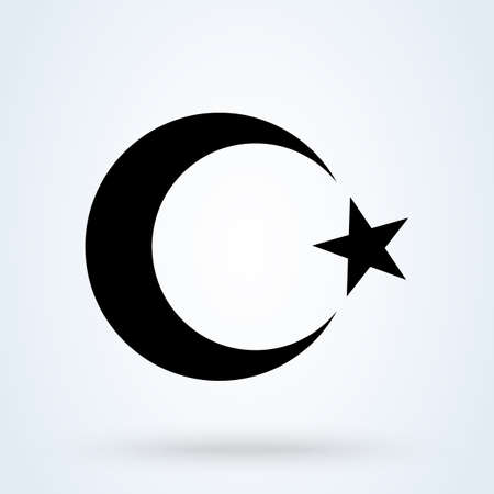 moon and star islamic crescent. Simple vector modern icon design illustration.