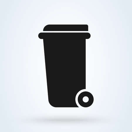 Wheelie bin Simple vector modern icon design illustration. 스톡 콘텐츠 - 137732088