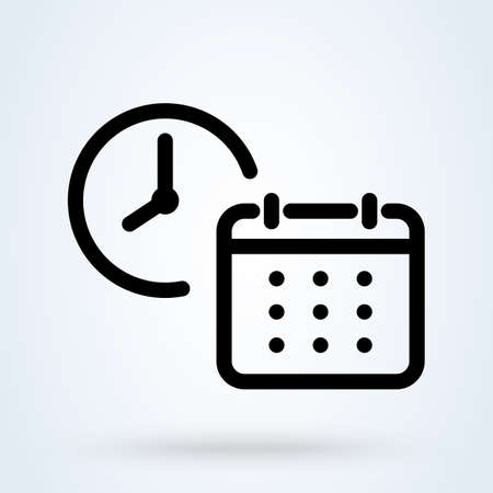 Calendar with Clock line. Simple vector modern icon design illustration. 스톡 콘텐츠 - 137895965