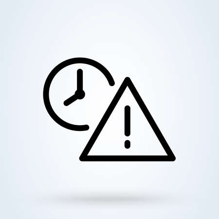 Exclamation point and clock line. Simple vector modern icon design illustration. Çizim
