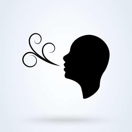Atembeschwerden haben. Einfache Vektor-moderne Icon-Design-Illustration.