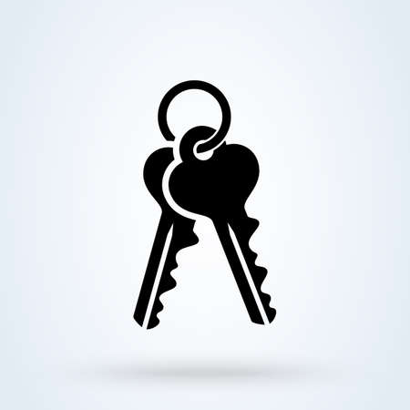 Old door key Simple vector modern icon design illustration.