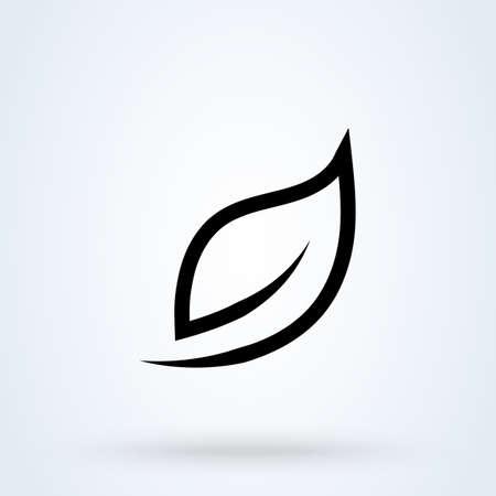 leaf logo line Simple vector modern icon design illustration.