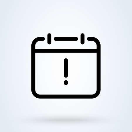 exclamation calendar line. vector Simple modern icon design illustration 스톡 콘텐츠 - 138024175