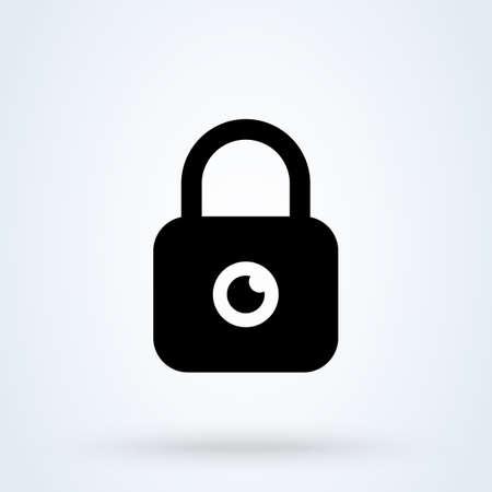 Privacy eye lock. vector Simple modern icon design illustration.