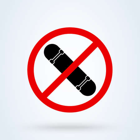 skateboard no icon. vector Simple modern design illustration. 스톡 콘텐츠 - 138022802