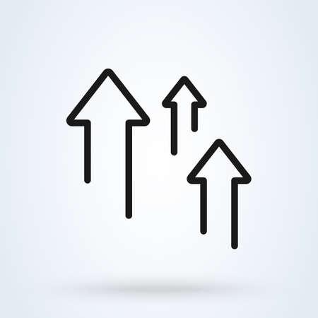 arrow increase Income line icon. vector Simple modern design illustration. Imagens - 138179945