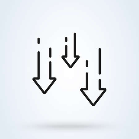 decrease reduce arrow line icon. vector Simple modern design illustration. Imagens - 138357242