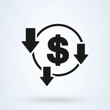 decrease reduce dollar. vector Simple modern icon design illustration. 스톡 콘텐츠 - 138179250
