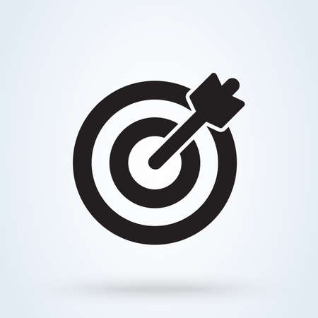 Icono de destino y flecha. vector Ilustración de diseño moderno simple.
