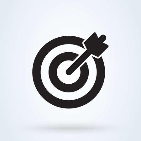 Ziel- und Pfeilsymbol. Vektor Einfache moderne Designillustration.