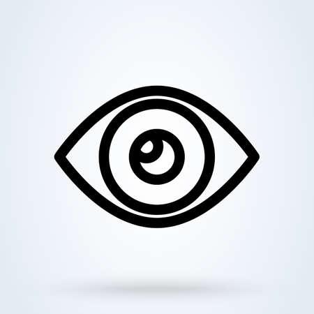 Icono de ojo. Visión por computadora, símbolos de reconocimiento de imágenes. Visión, busque iconos para diseños modernos de interfaz de usuario web y móvil. Ilustración de vector
