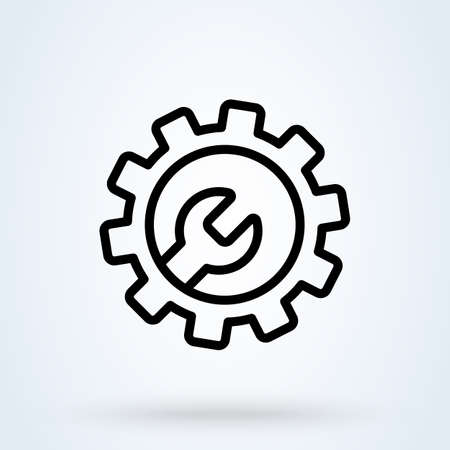 Technical Support icon vector in line style. Cog, Gear and Wrench symbols. Customer service, client support illustration for perfect mobile and web designs.