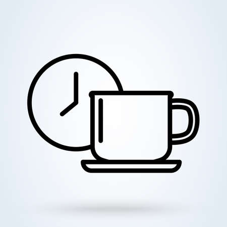 Coffee or tea cup with clock symbol. Coffee time illustration. Coffee break, rest sign. Mug with clock illustration for perfect web, app and logo design. Logo