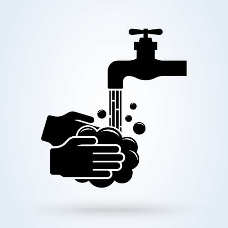 Wash your hands mandatory sign. Man Holding soap in hand under water tap. Vector illustration