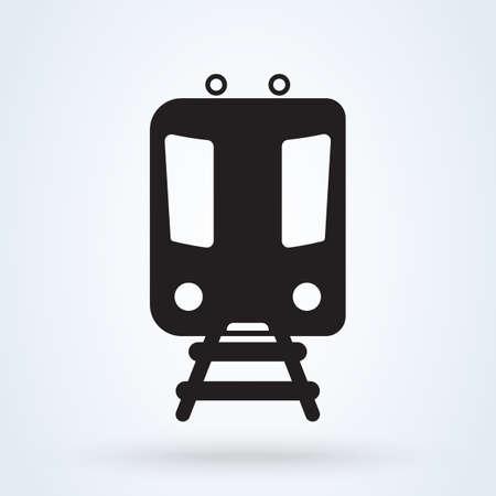 Metro Train transportation icon, front view. Subway transport symbol. vector illustration.
