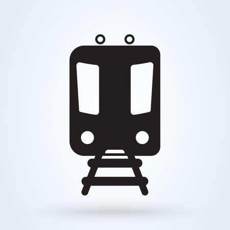 Metro Train transportation icon, front view. Subway transport symbol. vector illustration.